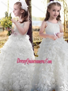 New Arrivals Ruffled and Bowknot White Flower Mini Quinceanera Dress with Straps
