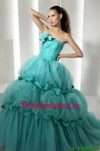 Popular 2015 Floor Length 2015 Quinceanera Dresses with Hand Made Flowers and Beading