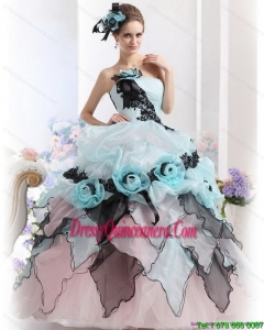 Unique Ruffles Multi Color 2015 Quinceanera Dresses with Hand Made Flowers