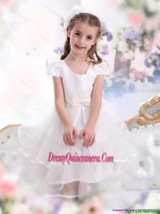 2015 Affordable Scoop White Little Girl Pageant Dresses with Bowknot and Ruffles