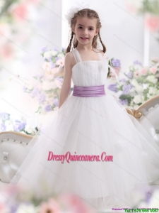 2015 Affordable White Little Girl Pageant Dresses with Lilac Sash