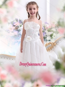 2015 Affordable White Spaghetti Straps Little Girl Pageant Dresses with Flowers and Ruffles