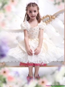 Affordable Champagne Little Girl Pageant Dress with Hand Made Flower and Lace