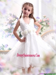 Affordable Halter Top White Mini Length Little Girl Pageant Dress with Hand Made Flower