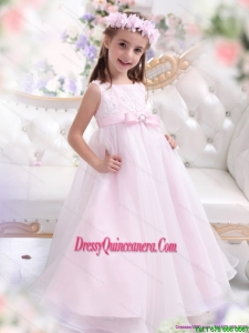 Affordable Scoop Appliques and Bownot Pageant Dresses for Girl in Baby Pink