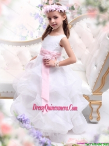 Affordable Scoop White Little Girl Pageant Dress with Sash and Ruffles