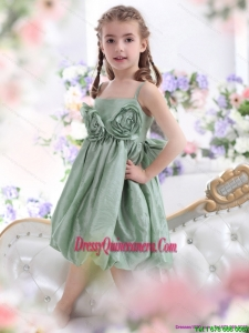 Affordable Spaghetti Straps Little Girl Pageant Dress with Waistband and Hand Made Flower