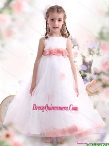 Affordable White Little Girl Pageant Dresses with Pink Waistband and Hand Made Flower