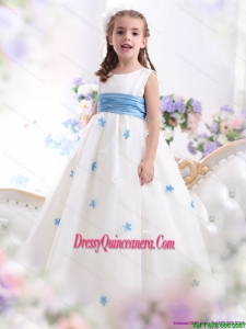 Affordable White Scoop Little Girl Pageant Dress with Baby Blue Waistband and Appliques