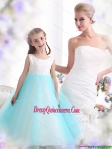 Affordable White and Baby Blue Scoop Little Girl Pageant Dress for 2015