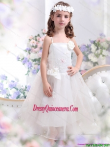 White Spaghetti Straps Affordable Little Girl Pageant Dresses with Hand Made Flower and Appliques