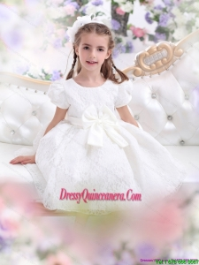 Affordable Lace 2015 White Little Girl Pageant Dress with Short Sleeves and Bownot