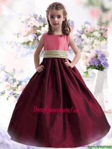 Affordable Multi Color Ruffled 2015 Little Girl Pageant Dress with Sash