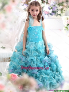 Affordable Straps Appliques and Ruffled Layers Pageant Dresses for Kids in Aque Blue