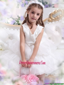 Affordable White Appliques Scoop Little Girl Pageant Dress for 2015