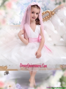 Affordable White Little Girl Pageant Dress with Baby Pink Waistband and Hand Made Flower