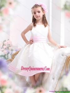 Affordable White Scoop Little Girl Pageant Dress with Light Pink Bownot