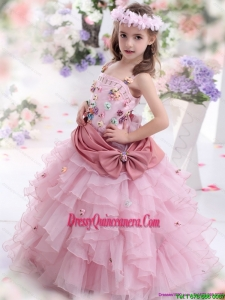 Rose Pink Affordable Little Girl Pageant Dress with Hand Made Flowers and Ruffled Layers