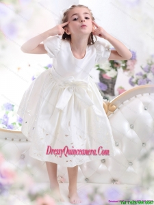 White Scoop 2015 Affordable Little Girl Pageant Dress with Bownot and Cap Sleeves