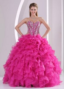 Fuchsia Ruffles Sweetheart Dress for Quinceanera with Ruffles and Beading