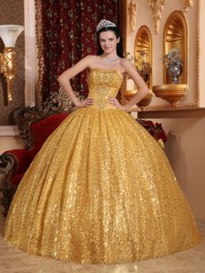Classical Gold Sweetheart Sweet Sixteen Quinceanera Dresses with Beading
