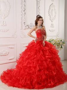 Low Price Red Organza Embroidery Quinceanera Gown Dresses with Ruffles