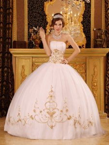 Fitted Strapless Satin and Organza Quinceanera Dress in White with Appliques