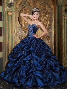 Navy Blue Sweetheart Taffeta Sweet 16 Dresses with Picks-up and Appliques