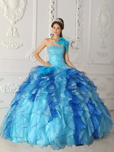 Strapless Aqua Blue Nice Quinceanera Dresses in Satin and Organza