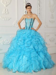 Low Price Baby Blue Ball Gown Strapless Quince Dresses in Organza