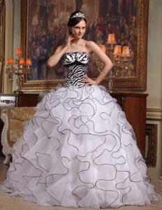 Strapless White Discount Ruffled Sweet 16 Dress in Organza and Zebra