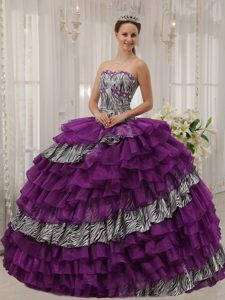 Ball Gown Sweetheart Elegant Purple Dresses for Quince with Ruffles