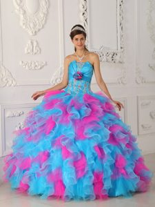 Strapless Affordable Quinceaneras Dresses with Appliques and Ruffles