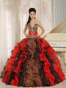 Muti-Color Quinces Dress with Leopard and Beading for Wholesale Price