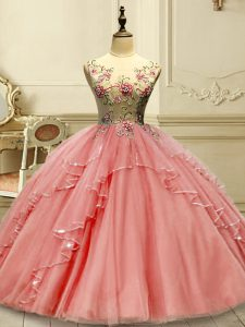 Watermelon Red Sleeveless Floor Length Appliques Lace Up Quince Ball Gowns