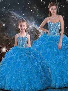 Trendy Baby Blue Ball Gowns Sweetheart Sleeveless Organza Floor Length Lace Up Beading and Ruffles Quinceanera Gown