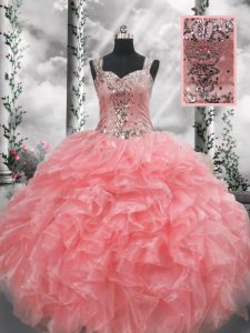 Discount Floor Length Zipper Quinceanera Dress Watermelon Red for Military Ball and Sweet 16 and Quinceanera with Beading and Ruffles