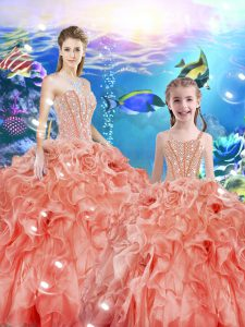 Flare Floor Length Watermelon Red Sweet 16 Quinceanera Dress Sweetheart Sleeveless Lace Up