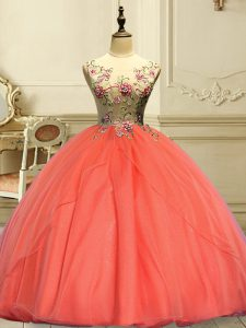 Affordable Appliques Sweet 16 Quinceanera Dress Orange Red Lace Up Sleeveless Floor Length
