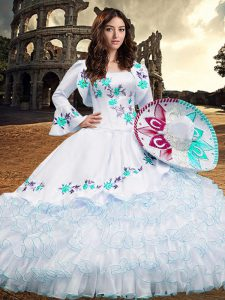 Noble Aqua Blue Lace Up Square Embroidery and Ruffled Layers Quinceanera Gown Organza Long Sleeves