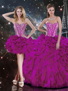 Fuchsia Sleeveless Floor Length Beading and Ruffles Lace Up Quinceanera Gown