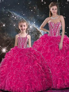 Adorable Ball Gowns Quinceanera Dress Hot Pink Sweetheart Organza Sleeveless Floor Length Lace Up