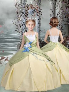 Taffeta Sleeveless Floor Length Little Girl Pageant Gowns and Ruching and Hand Made Flower