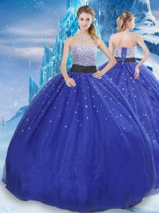 Affordable Royal Blue Lace Up Ball Gown Prom Dress Beading and Sequins Sleeveless Floor Length