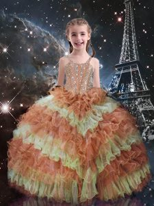 Ball Gowns Little Girl Pageant Dress Orange Red Straps Organza Sleeveless Floor Length Lace Up