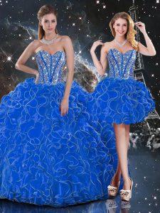 Flirting Floor Length Blue Sweet 16 Dresses Sweetheart Sleeveless Lace Up
