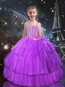 Beautiful Lilac Sleeveless Organza Lace Up Kids Pageant Dress for Quinceanera and Wedding Party