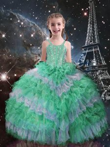 Apple Green Sleeveless Beading and Ruffled Layers Floor Length Little Girl Pageant Dress
