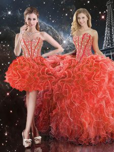 Sweetheart Sleeveless Lace Up Quinceanera Gown Coral Red Organza