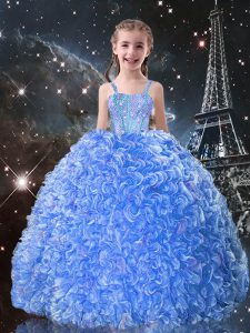 Baby Blue Straps Neckline Beading and Ruffles Little Girls Pageant Dress Sleeveless Lace Up